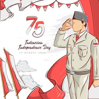 インドネシアの独立記念日の手描きイラスト