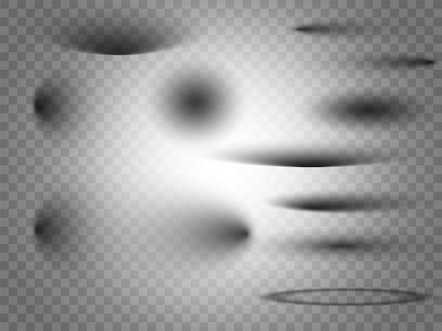 Набор прозрачных квадратных теней с мягкими краями изолированы.