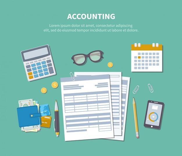 会計の概念。税の日。財務分析、納税、分析、データ収集、統計、研究。