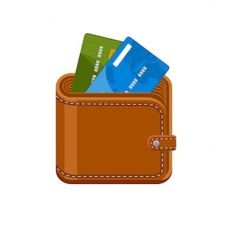 クレジットカード付きの財布。