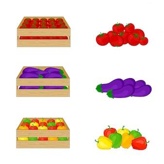 Овощи в деревянных коробках изолированных на белой предпосылке. помидоры, баклажаны, сладкий перец. иллюстрация органические продукты питания.