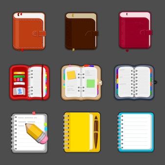 Коллекция различных открытых и закрытых тетрадей, дневник, альбом для рисования, бумажник. набор различных блокнотов и планшетов с заметками и закладками. значок.