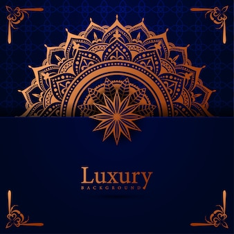 黄金のアラベスクイスラム東スタイルとマンダラの豪華な背景