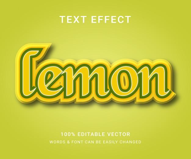 Лимонный полный редактируемый текстовый эффект