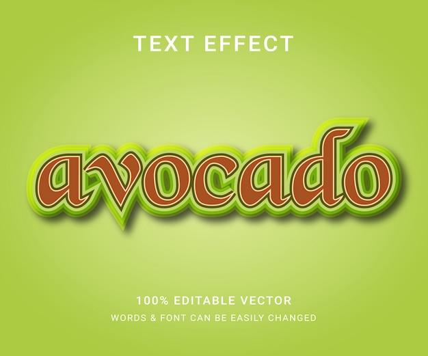 Полный редактируемый текстовый эффект авокадо