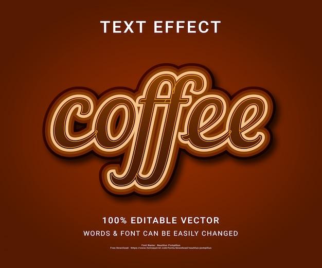 コーヒーのフル編集可能なテキスト効果