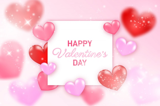 幸せなバレンタインバナーテンプレート。現実的な輝く黄金の紙吹雪と心のコンポジション。