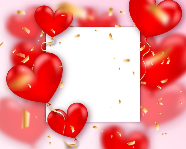 バルーンハート。赤い風船の心の飛行の束のベクトル休日イラスト。