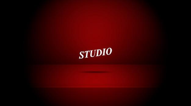 Пустая яркая комната таблицы студии красного цвета.