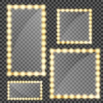 ゴールドライトで分離された化粧鏡。電球と鏡面反射を備えた円形と長方形のミラーフレーム。