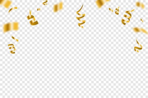 Золотой крошечный конфетти и ленты стример падают. яркая золотая праздничная мишура. вечеринка