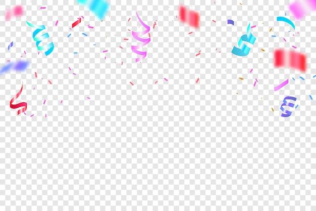 Красочное яркое конфетти. праздничная векторная иллюстрация. конфетти падения праздничное украшение для празднования дня рождения.