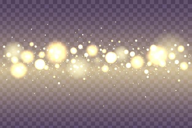 Размытый свет. ночные яркие золотые блестки