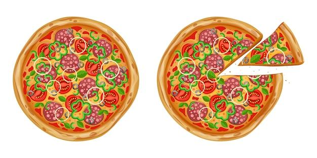Реалистичная пицца с различными ингредиентами. традиционный итальянский фаст-фуд.