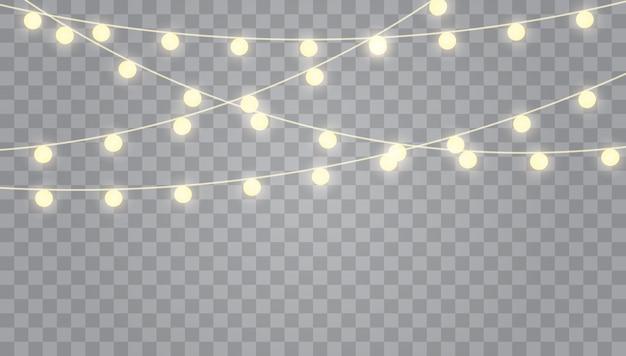 Рождественские огни, изолированные на прозрачный. набор гирлянд, праздничных украшений.