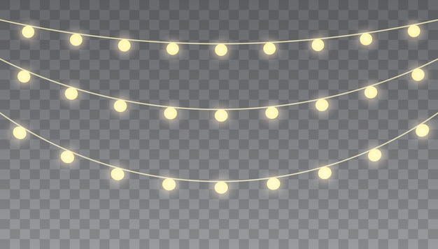 Рождественские огни, изолированные на прозрачный. набор гирлянд, праздничных украшений. для открыток, баннеров, постеров, веб-дизайна.