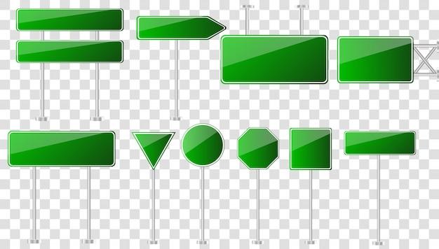 道路緑の交通標識。道路板テキストパネル、モックアップ看板方向高速道路市道標の場所。