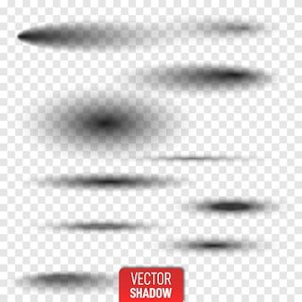 ソフトエッジが分離された透明な楕円形の影のセット。現実的な孤立した影。灰色の丸い楕円形の影ベクトルイラスト。