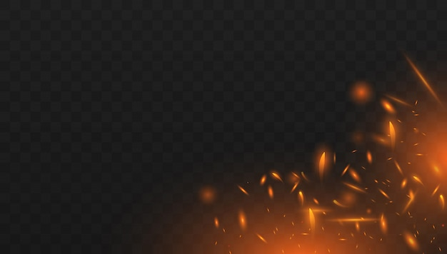 Красный огонь искры вектор летит вверх. реалистичный эффект изолированного огня с дымом для украшения и покрытия на прозрачный.
