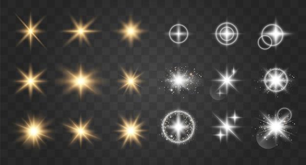 グローライト効果。ベクトルイラスト。クリスマスフラッシュ。輝く魔法の塵の粒子。輝く星。透明な輝く太陽、明るいフラッシュ。