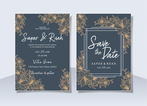 エレガントなスケッチ高級花と結婚式の招待カード