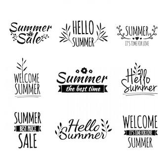 Набор простых летних логотипов в линейном стиле