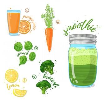 健康的な食事のためのほうれん草、ブロッコリー、ニンジンからの緑の野菜スムージー。ガラスの瓶でカクテル。エネルギーとダイエットのためのカクテル。健康のためのレシピベジタリアンスムージー。
