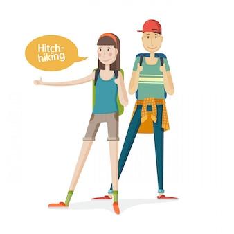 二人の若者カップル観光客。ヒッチハイクしているカップル。指でバックパックを持つ若者。女の子と男の子の漫画フラットでヒッチハイクします。