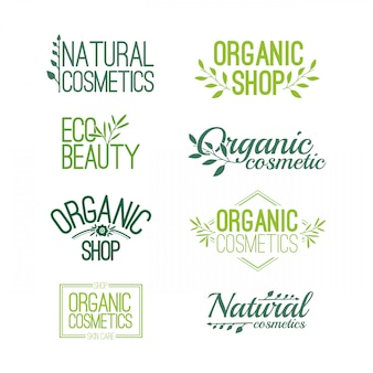 デザインロゴ、スタンプ、有機および自然化粧品のステッカーのパターンのセット。