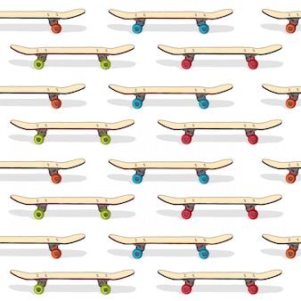 立っているスケートボードのシームレスパターン