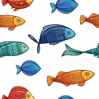 色付きの漫画の魚のパターンとのシームレスな背景。