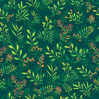 Бесшовный фон с ветки, ягоды и листья.