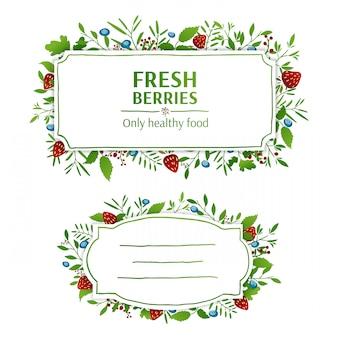 美しいバナー、カード、招待状またはラベル。春、夏、秋の背景。イチゴとブルーベリーの要素。葉、果実、小枝、植物、ハーブの飾り。ベクター。あなたのテキストのための場所
