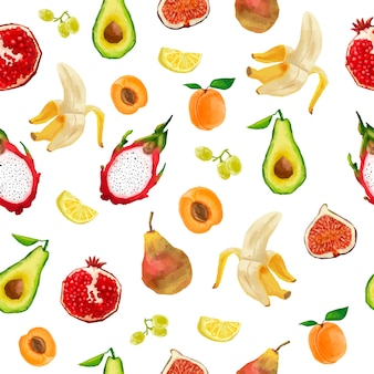 水彩風のシームレスパターン。果実、果物、トロピカルフルーツ。