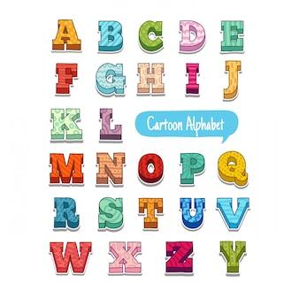 シンプルなパターンでカラフルな落書きスタイル漫画アルファベット