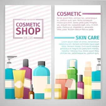 Вертикальный дизайн флаер шаблон о магазине косметики. дизайн с бутылками, тюбик декоративной косметики.