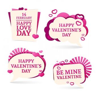 Установите значки, наклейки для счастливого дня святого валентина. романтический розовый с декором из сердец.