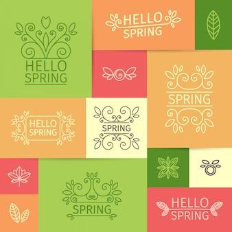 Набор простых весенних логотипов в линейном стиле