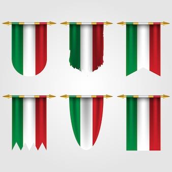 さまざまな形のイタリアの旗