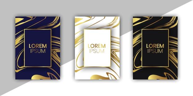 大理石の背景を持つ豪華な結婚式の招待カードコレクション
