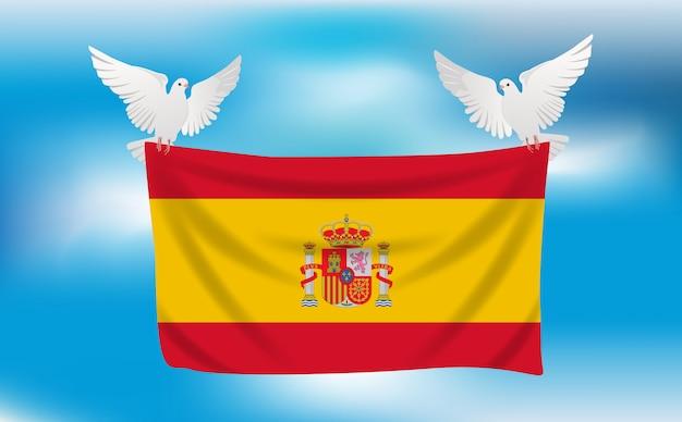 白いハトとスペインの旗