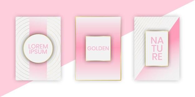 金色の線でピンクのエレガントなカード