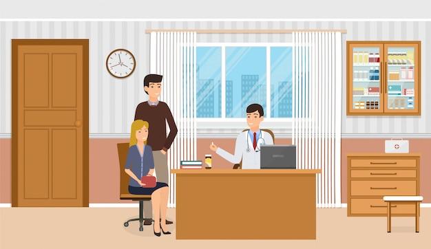 Семья на консультации врача в кабинете поликлиники. врач в форме дает двум пациентам лекарственные препараты.