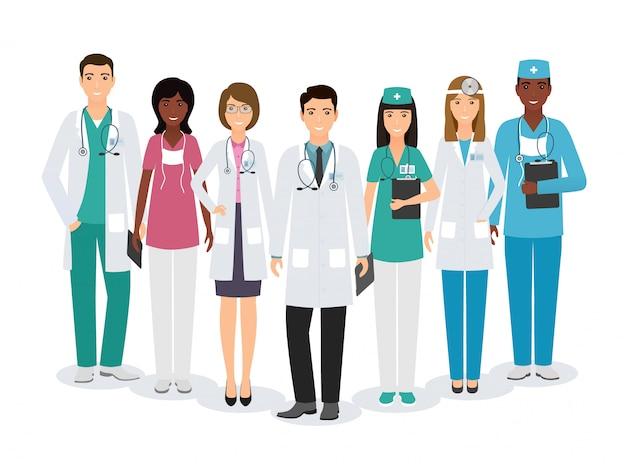 Группа медицинских людей символов, стоя вместе в разных позах на белом