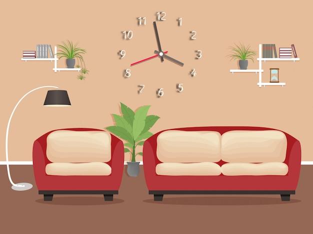 家具付きのリビングルームのインテリアデザイン。