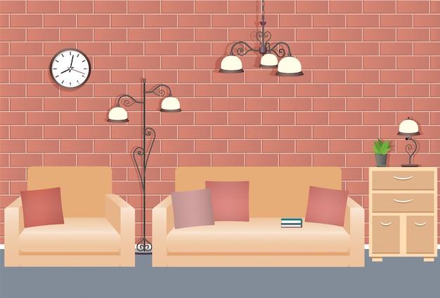 ソファ、アームチェア、ランプ、時計を備えたリビングルームのインテリアデザイン。