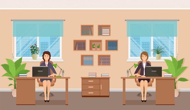Дизайн интерьера офиса с персоналом и мебелью.