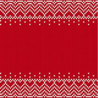 Вязаный текстурированный фон. вяжем геометрический орнамент с пустым местом для текста.