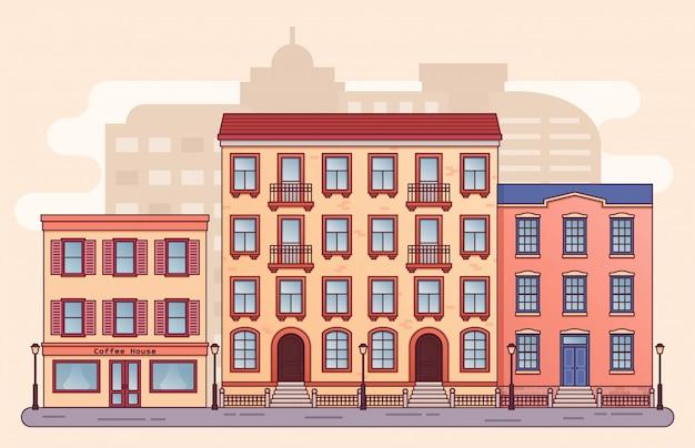 住宅街。家の建物、フラットスタイルのカフェ。