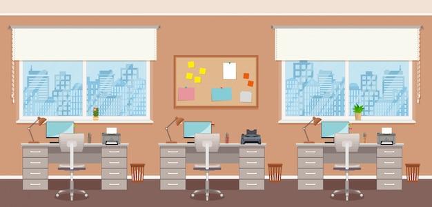 Дизайн интерьера офиса с тремя рабочими местами без людей. работает крытая комната с мебелью и окнами.